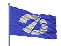 Kazuno miasta flaga Na Flagpole, Japonia, Akita prefektura, Odizolowywająca Na Białym tle ilustracja wektor