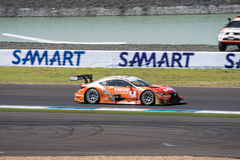 Kazuya Oshima of LEXUS TEAM LeMans ENEOS in Warm Up Lap Super GT Stock Images