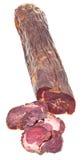 Kazy découpé en tranches de saucisse de viande de cheval d'isolement sur le blanc Photos libres de droits