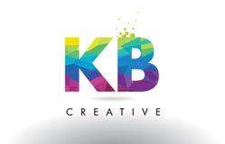 KB K B Colorful Letter Origami Triangles Design Vector. stock illustration