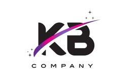 KB K B Zwarte Brief Logo Design met Purpere Magenta Swoosh vector illustratie