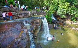 Kbal Chhay waterfall is located in Khan Prey Nup in Sihanoukville. Kbal Chhay waterfall is located in Khan Prey Nup, about 16 kilometers north of the downtown Royalty Free Stock Photos
