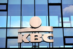 KBC building. KBC logo in front of the office building in Louvain (Belgium Royalty Free Stock Photos