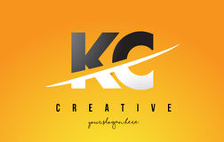 KC K C Letter Modern Logo Design with Yellow Background and Swoo. KC K C Letter Modern Logo Design with Swoosh Cutting the Middle Letters and Yellow Background Stock Photo