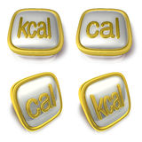 Kcal and Calorie 3d metalic square Symbol button . 3D Icon Desig Stock Photos