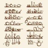 Küchegeräte auf Regalen, Skizzezeichnung Stockfotos