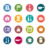 Küchen-Geräte und Gerätefarbikonen Stockfotos