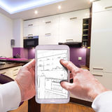 Küchen-Innenraum-Skizze Lizenzfreie Stockfotos