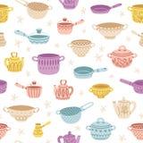 Küchengeschirrgekritzel verzierte buntes nahtloses Muster Stockfoto