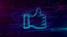 Kciuk lubi symbolu holograma loopable pojęcie ilustracja wektor
