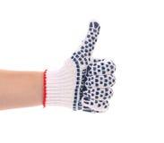 Kciuk mężczyzna ręka w rękawiczce. Obraz Royalty Free