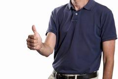 Kciuk w górę pojęcia: mężczyzna robi kciukowi up gestykulować odosobnionego na witka plecy z kopii przestrzenią i ścinek ścieżce  fotografia royalty free