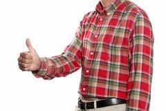 Kciuk w górę pojęcia: mężczyzna robi kciukowi up gestykulować odosobnionego na witka plecy z kopii przestrzenią i ścinek ścieżce  obraz royalty free