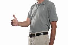 Kciuk w górę pojęcia: mężczyzna robi kciukowi up gestykulować odosobnionego na witka plecy z kopii przestrzenią i ścinek ścieżce  obraz stock