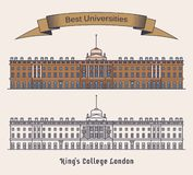 KCL Londyn lub kings college Uniwersytet w Anglia ilustracji