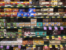 KCup coffee aisle of a grocery store. KCup coffee stocks the aisle of a grocery store stock image