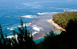 Ke'e beach on Kauai from trail Stock Photos