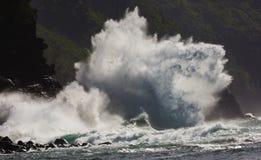 Ke`e Beach, Super Wave, Kauai, Hawaii royalty free stock photo