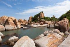 Ke-gummin sätter på land på Mui Ne, Phan Thiet, Vietnam Arkivfoto