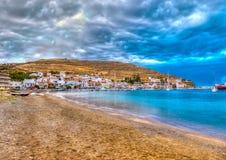 In Kea island in Greece. The beautiful gulf of Vourkari at Kea island in Greece. HDR processed Royalty Free Stock Photo