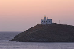 Kea Lighthouse. This lighthouse guards the entrance to the port of Korissia on the Greek island of Kea Stock Image