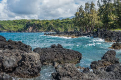 Keanae Point Shoreline 3. A view of the shoreline at Keanae Point on Maui, Hawaii Royalty Free Stock Images
