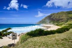 Keawa 'Ula海湾(横滨海滩) -奥阿胡岛,夏威夷,美国 免版税库存图片