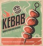 Kebab减速火箭的海报设计 免版税库存图片