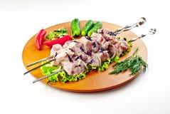 kebab牛乳气酒猪肉shish 免版税图库摄影