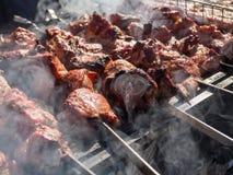 Kebab που ψήνεται στους άνθρακες στον καπνό στοκ εικόνα με δικαίωμα ελεύθερης χρήσης
