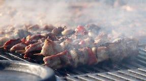 Kebab στα ξύλινα οβελίδια στη σχάρα Οβελίδια Shashlik ή shashlyk «κρέατος †στη σχάρα έξω Shish kebab σε μια σχάρα Roast κρέας Στοκ φωτογραφία με δικαίωμα ελεύθερης χρήσης