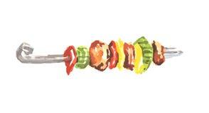 Kebab акварели иллюстрация вектора
