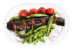 Kebab баклажана на белой предпосылке Стоковое фото RF