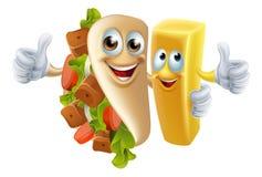 Kebab и талисманы обломока иллюстрация вектора