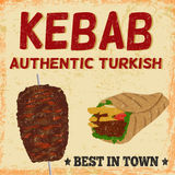 Kebab advertising poster in vintage style Royalty Free Stock Photo