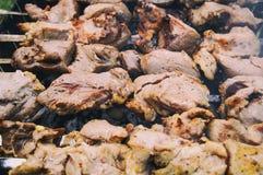 Kebab appetitosi, cucinati sulla griglia fotografia stock