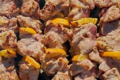 Kebab arrostito che cucina sullo spiedo del metallo Carne arrostita cucinata alle sedere Immagini Stock Libere da Diritti