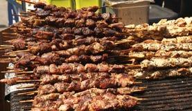 Kebab arrostito del manzo e del pollo Fotografia Stock