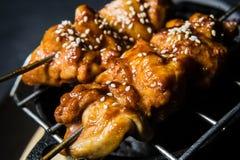 Kebab arrostito del pollo, fondo nero, vista superiore fotografie stock libere da diritti