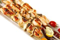 Kebab asado del cerdo en blanco Imagenes de archivo