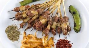 Kebab asado a la parilla del shish fotos de archivo