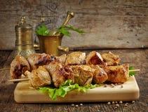 Kebab asado a la parrilla de la carne de cerdo Fotografía de archivo libre de regalías