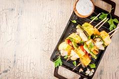 Kebab asado a la parrilla del queso de Paneer Tikka imagenes de archivo