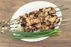 Kebab auf Holzkohle Stockbild