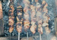 Kebab auf Holzkohle Stockfotografie