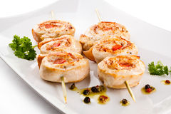 Kebab - barbecued chicken meat Stock Photos