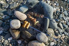 Kebab and bread are fried on the rocks on the rocky shore stock photos
