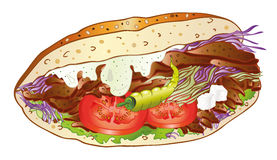 Kebab, bread, salad Royalty Free Stock Images