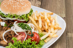 Kebab Burger with meat and Chips Royalty Free Stock Images