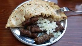 Kebab Cevap Cevapi. Lunch on Bas carsija- Sarajevo. Cevapi. Kebab Royalty Free Stock Photos